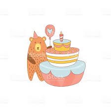bear and a giant birthday cake stock vector art 545094646 istock