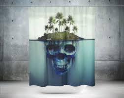 Skull Shower Curtain Hooks Cactus Shower Curtain Cactus Bathroom Décor Cactus Bath