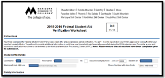 financial aid verification support maricopa community colleges