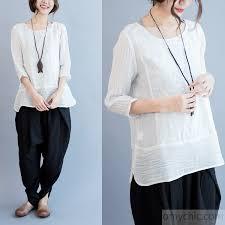 linen blouses 2016 unique design linen blouse womens bracelet sleeve shirt cotton top1 jpg