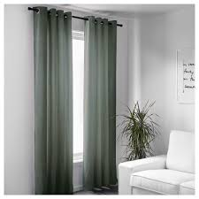 Grey And Green Curtains Sanela Curtains 1 Pair 55x98 Ikea