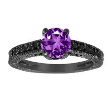 black and purple engagement rings carat amethyst engagement ring wedding ring 14k black gold