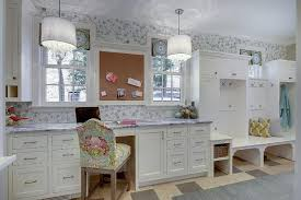 Recycled Glass Backsplash by Mudroom And Craft Room Combo With Built In Desk Transitional