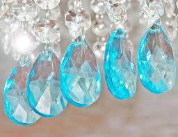 Glass Crystal Chandelier Drops 5 Aqua Teal Blue Chandelier Drops Glass Crystals Droplets Oval