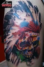 watercolor indian skull tattoo by hiinaar on deviantart