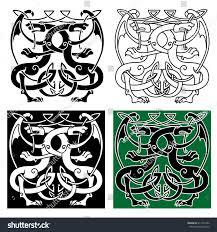 vintage celtic decorative ornament ancient winged stock vector