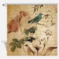 Teal Bird Curtains Vintage Shower Curtains Cafepress
