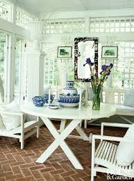 trellis walls white furniture brick floor traditional outdoor