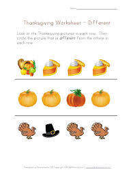 thanksgiving preschool concepts worksheet different from all