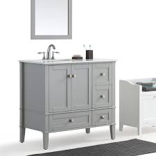 36 In Bathroom Vanity With Top by Wyndenhall Windham Grey 36 Inch Offset Bath Vanity With White