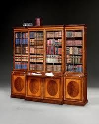 Break Front Bookcase Satinwood Regency Breakfront Bookcase Sheraton Furniture