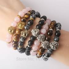 rose stone bracelet images Mix stone rose pink crystal snowy obsidian tiger eye volcanic jpg