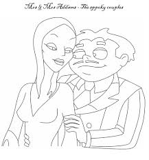 the addams family coloring pages mrs u0026 mr addams