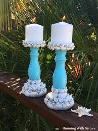 how to make seashell candlesticks running with sisters