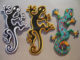 gecko lizard iron on sew on embroidered cloth patch badge