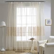 Patterned Sheer Curtains Beige Geometric Patterned Sheer Curtains