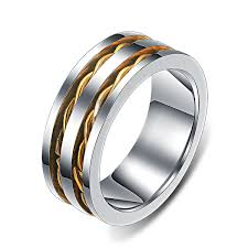 Wedding Rings For Men by Double Gold Inlaid High Polished Edges Ring For Men Men U0027s