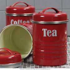 tea coffee sugar canister set red vintage style kitchen jars