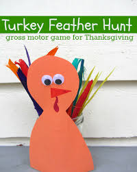turkey feather hunt gross motor for thanksgiving