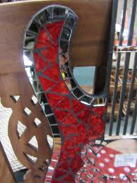 funky stuff handmade red tiled mosaic guitar wall mirror home