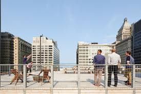 streamlined chicago office offers flexible layout massive rooftop