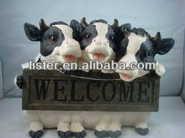 garden ornaments resin cow welcome statues for garden