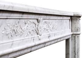 18th century french louis xvi fireplace mantel in veined statuary