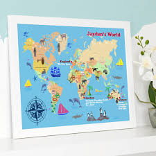 World Map For Kids Personalised Child U0027s World Map Print By Cherry Pete