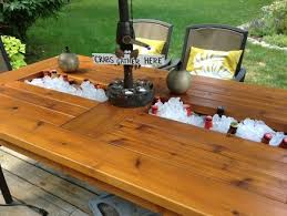 Cooler Patio Table Outdoor Cedar Table With Built In Coolers For And Wine