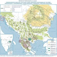 Romania Map Transhumance Ways Of The Vlachs Map Depicting The Movement Of