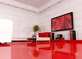 red and white living room with home theater the image on tv red and white living room with home theater the image on tv screen is a