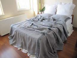 coverlet blanket grey linen king size extra large xl bedspread