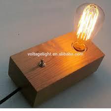 Edison Bulb Table Lamp Modern Fancy Natural Wood Base Table Lamp Edison Bulb Table Lamp