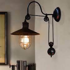 Vintage Industrial Wall Sconce Retro Retractable Pulley Vintage Industrial Wall Sconce Light