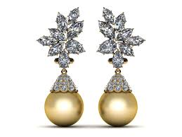 golden pearl rings images 14k yellow gold diamond golden pearl cluster with cap pearl earring jpg