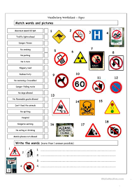 56 free esl signs worksheets