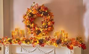thanksgiving mantel showcase the bold colors and bountiful