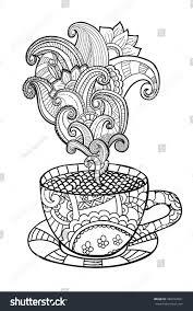 vector coffee tea cup abstract ornaments stock vector 384922021