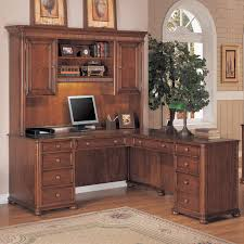 Desk With Hutch Cheap Modern Brown Varnished Maple Corner Desk With Small Monitor Stand