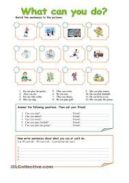 English Grammar Worksheets For Grade 2 Can Can U0027t For Abilities Exercises English Activities Pinterest