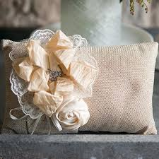 wedding ring pillow burlap wedding ring pillow with flowers candy cake weddings