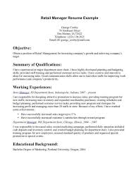 Retail Department Manager Resume Cover Letter Objective For Resume For Retail Good Objective For