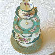 alice in teal large 4 tier aqua cupcake stand of vintage china