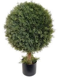 home decor artificial plants larksilk 29 u0027 cedar topiary artificial ball tree plant outdoor