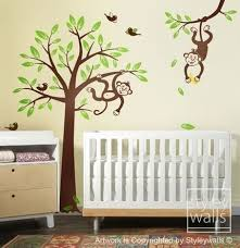 2 monkeys swinging from branch and tree birds nursery vinyl wall