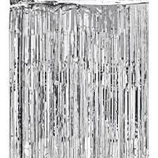 Silver Foil Curtains Metallic Silver Foil Fringe Shiny Curtains For