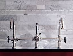 High Rise Kitchen Faucet by Regulator Gooseneck Double Spout Marquee Kitchen Faucet Metal