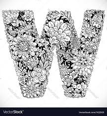 doodles font from ornamental flowers letter w vector image