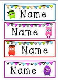 student name tags for desks monster bunting desk name tags class labels pinterest