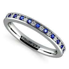 Sapphire Wedding Rings by Pave Diamond U0026 Sapphire Wedding Ring In White Gold